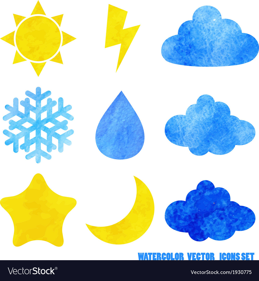 Watercolor weather icons vector image