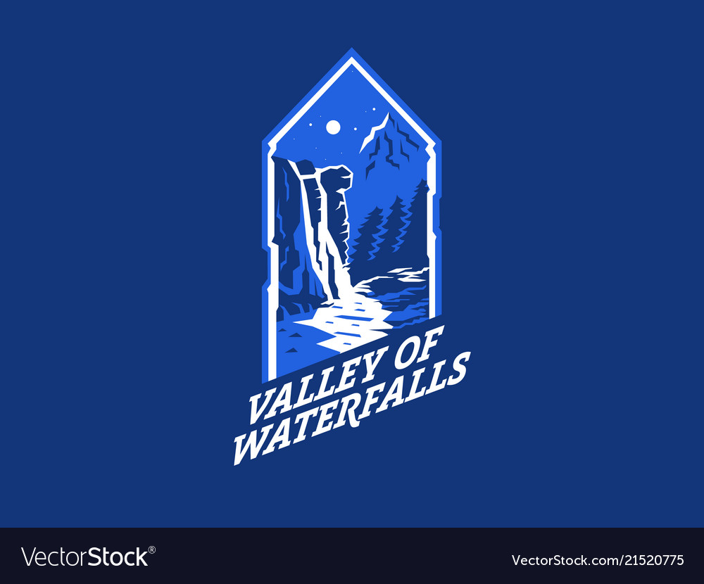 Waterfall night landscape mountain