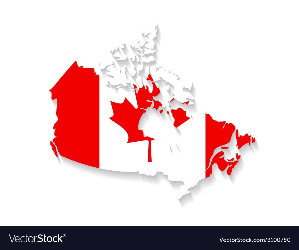 Canada flag map with shadow effect presentation