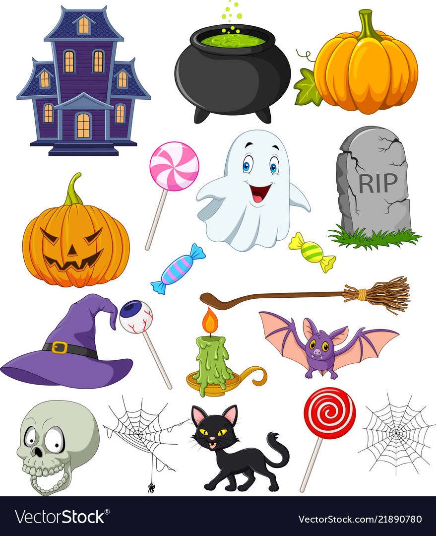 Cartoon halloween symbols collection set
