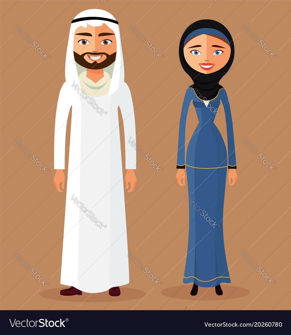Cartoon of a young arab lady and man