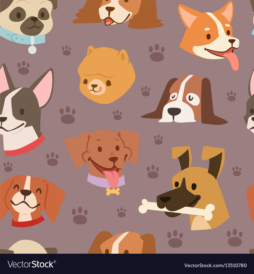 Dogs heads seamless pattern background
