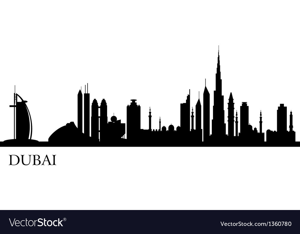 dubai city silhouette skyline royalty free vector image rh vectorstock com skyline victory manufactured home skyline vector free