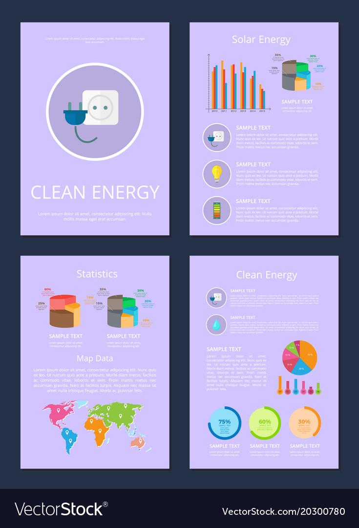 Four clean solar energy statistics map data cards