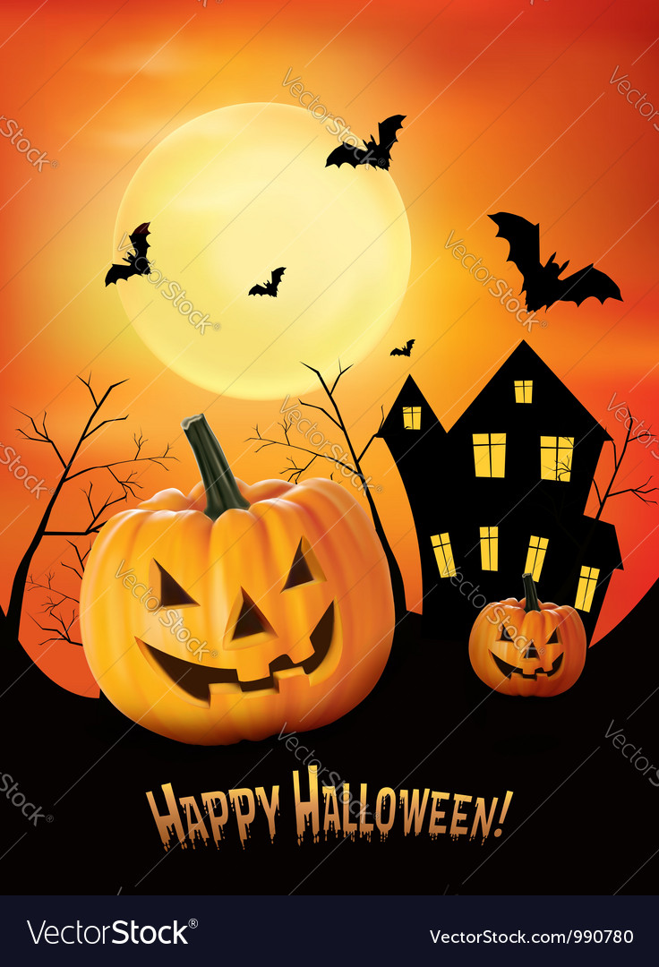 Halloween red background with pumpkins