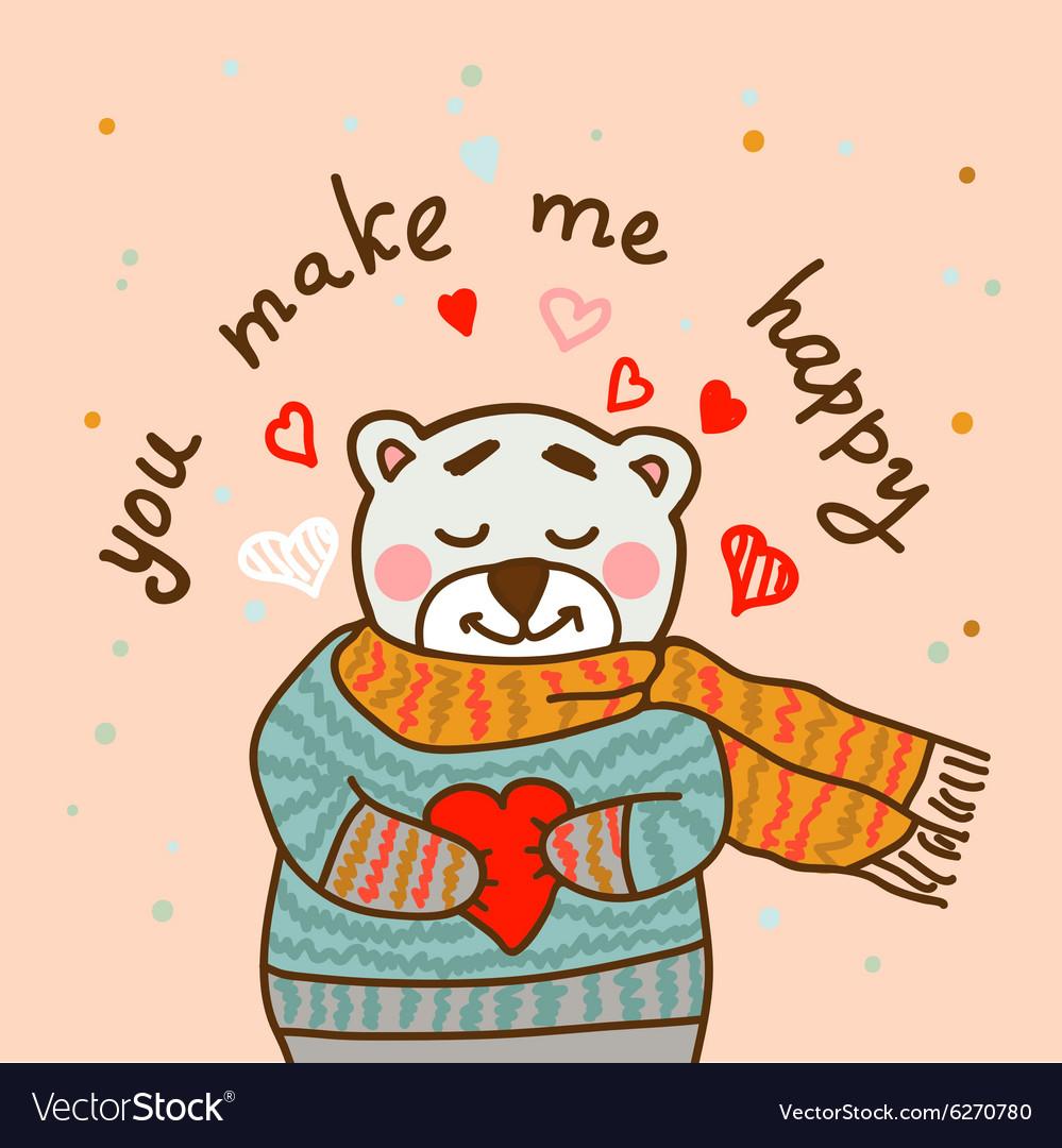 Happy teddy card in vector image