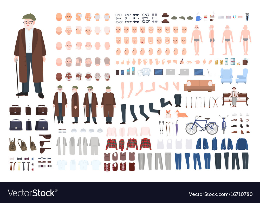 Old man character constructor creation set vector image