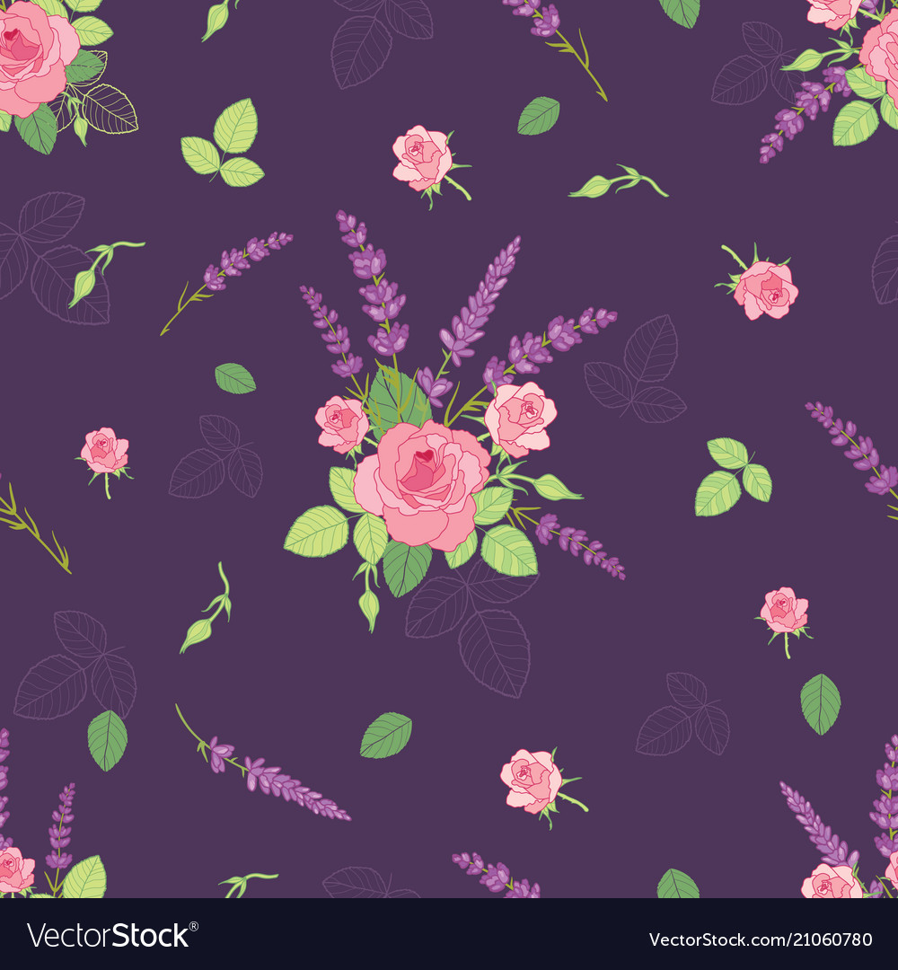 Pink purple roses ditsy seamless pattern