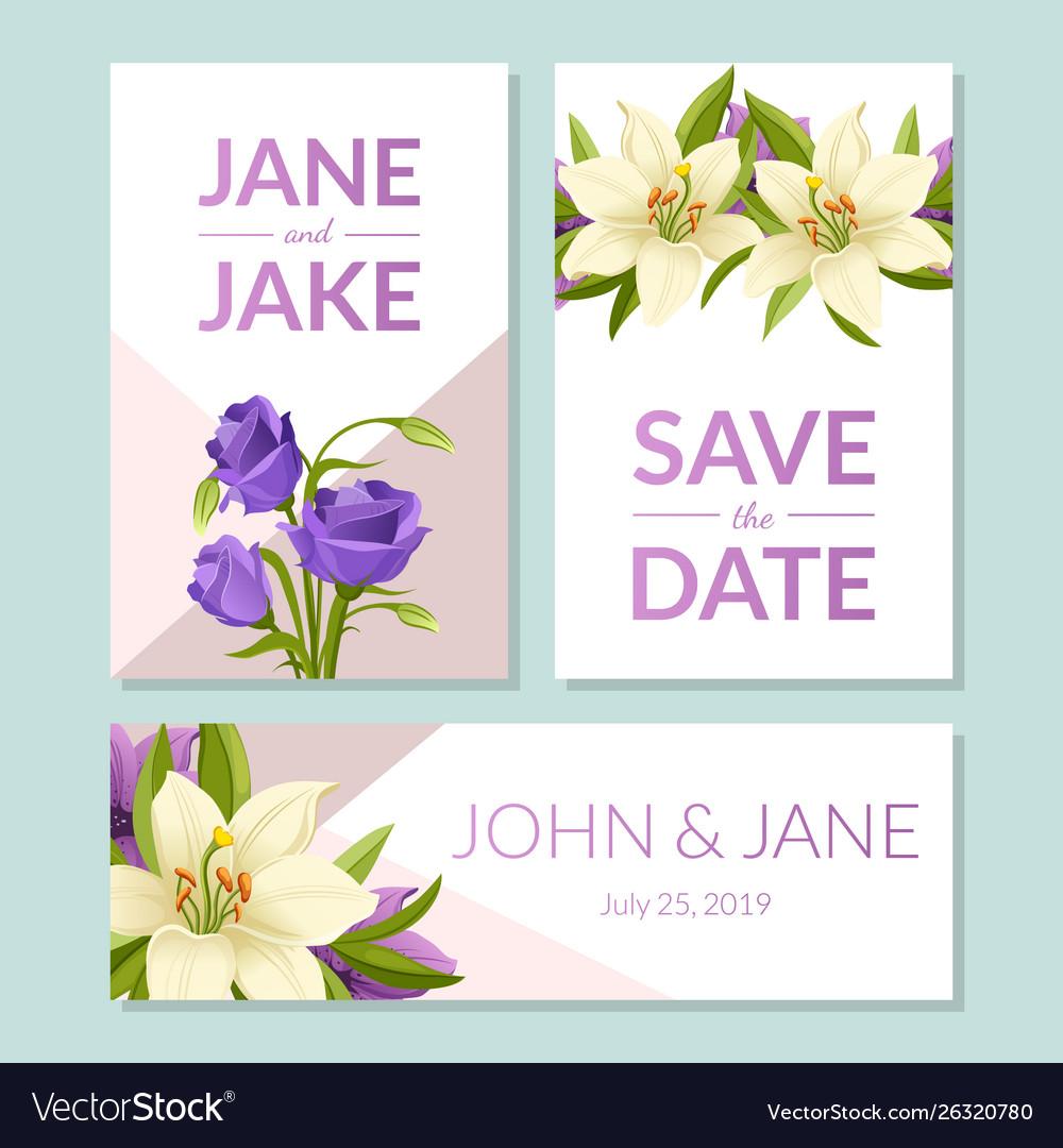 Save date wedding invitation templates set