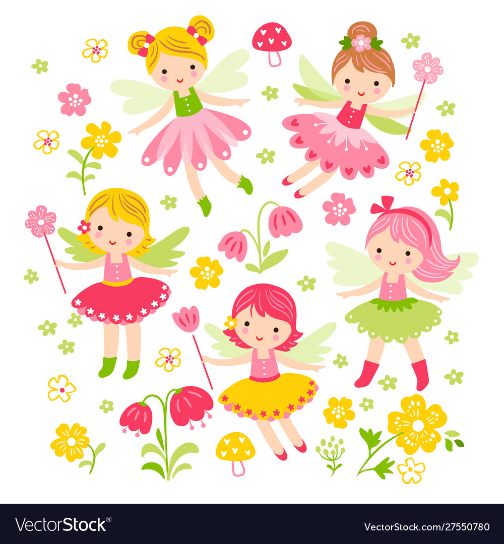 Seamless with fairies and