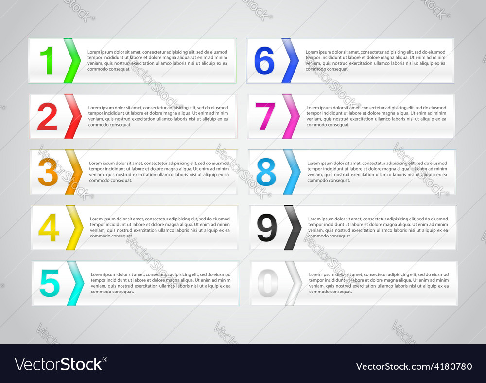 Set of banner with number infographics template vector image