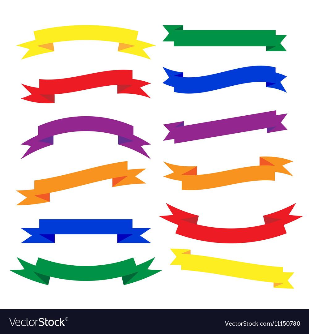 Set of beautiful festive colored ribbons