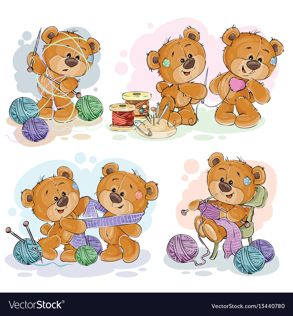 Set of clip art of teddy