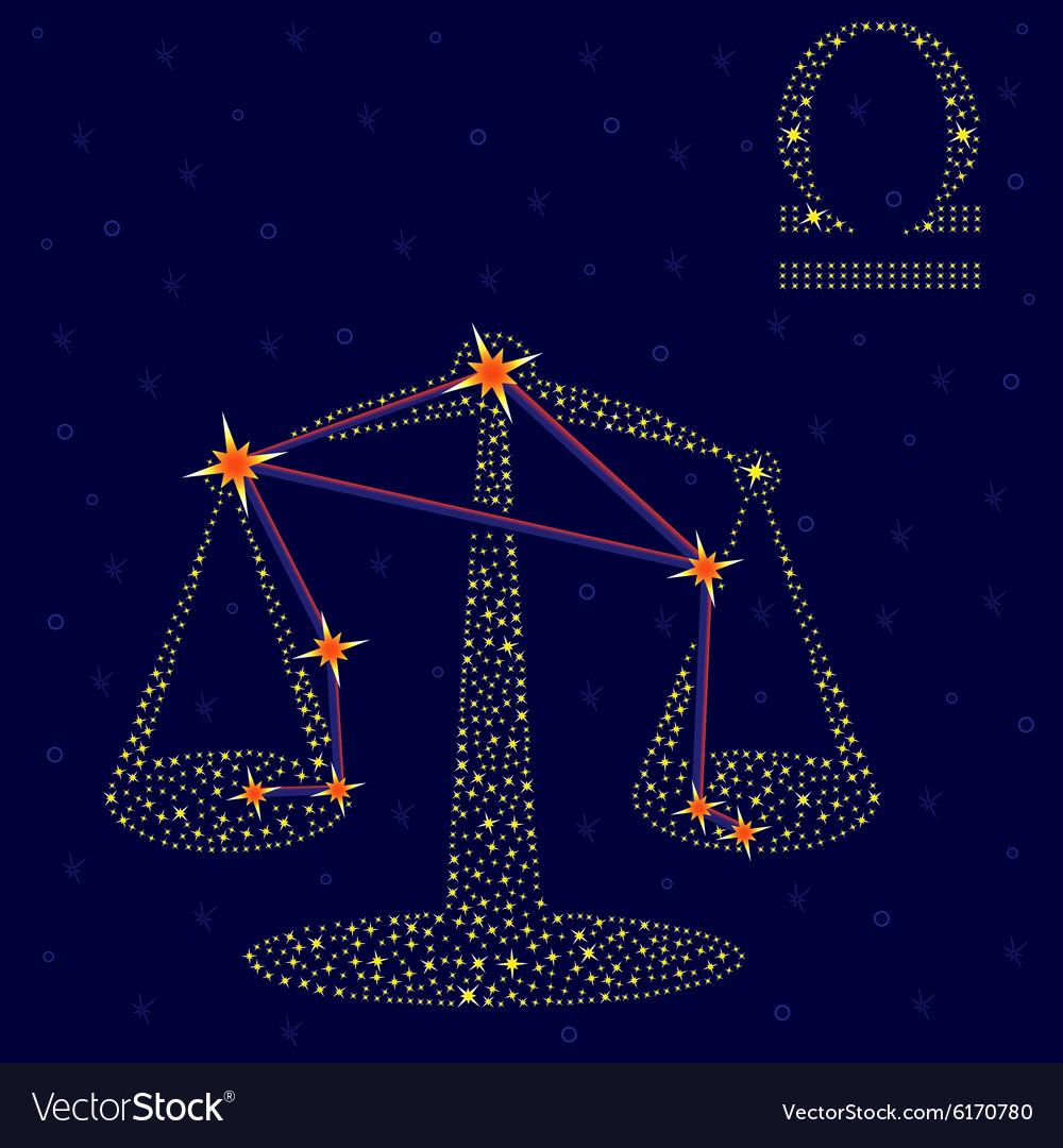 Zodiac sign Libra over starry sky
