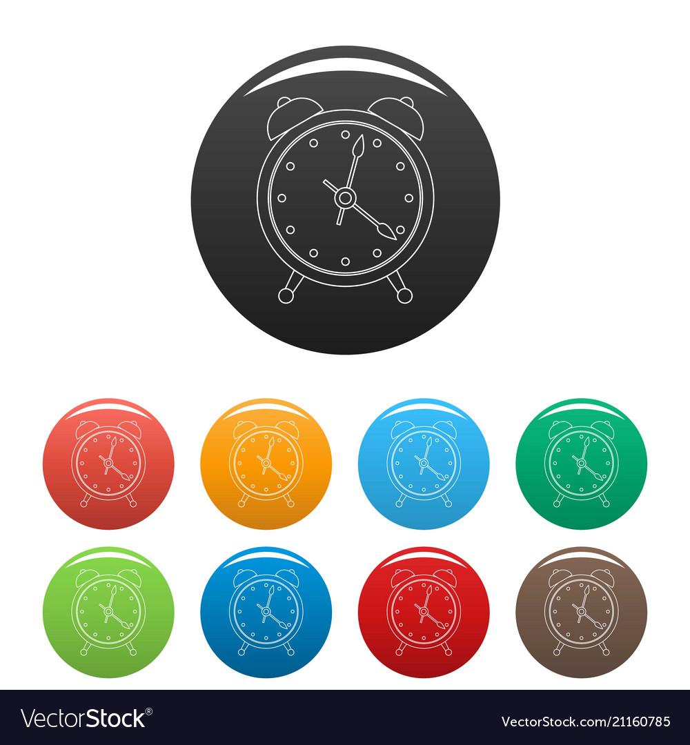 Alarm clock icons set color