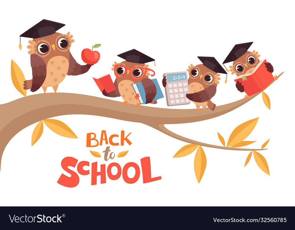 Back to school cute cartoon baowls and teacher