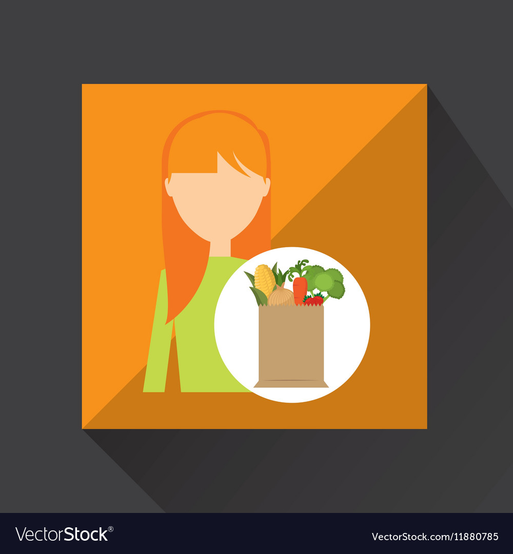Cartoon girl blonde grocery bag vegetables