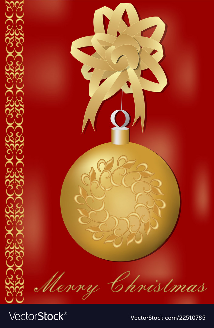 Christmas greeting card with gorgeous golden xmas
