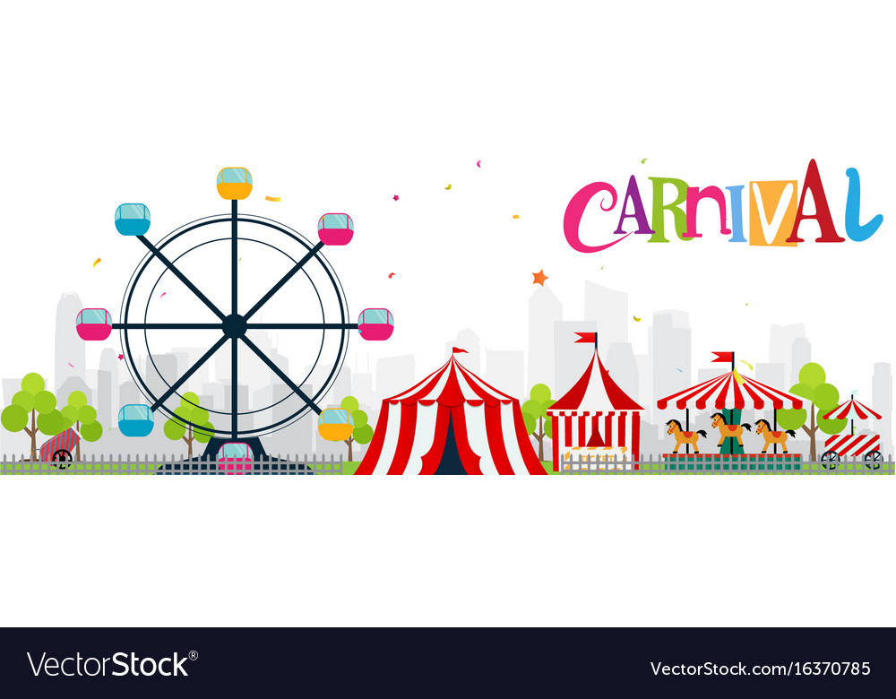 Colorful funfair and carnival background