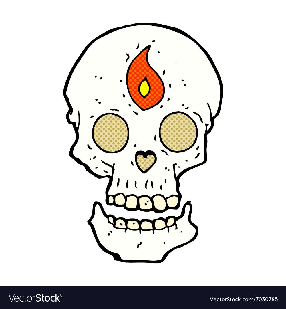 Comic cartoon mystic skull