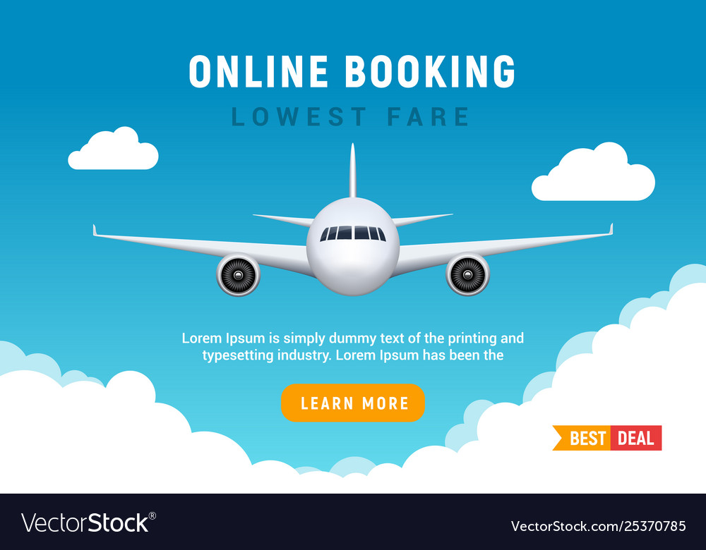 Flight travel trip banner for online booking