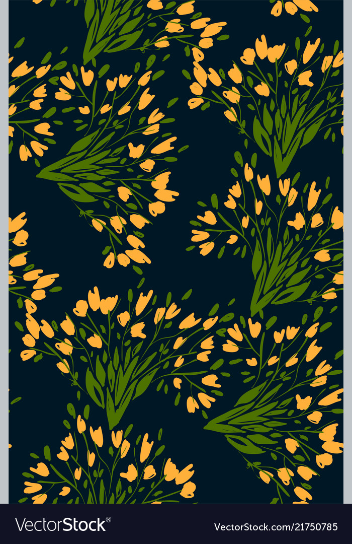 Floral seamless pattern with different flowers