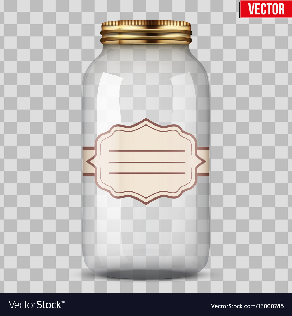 Glass Jar for canning with label Royalty Free Vector Image