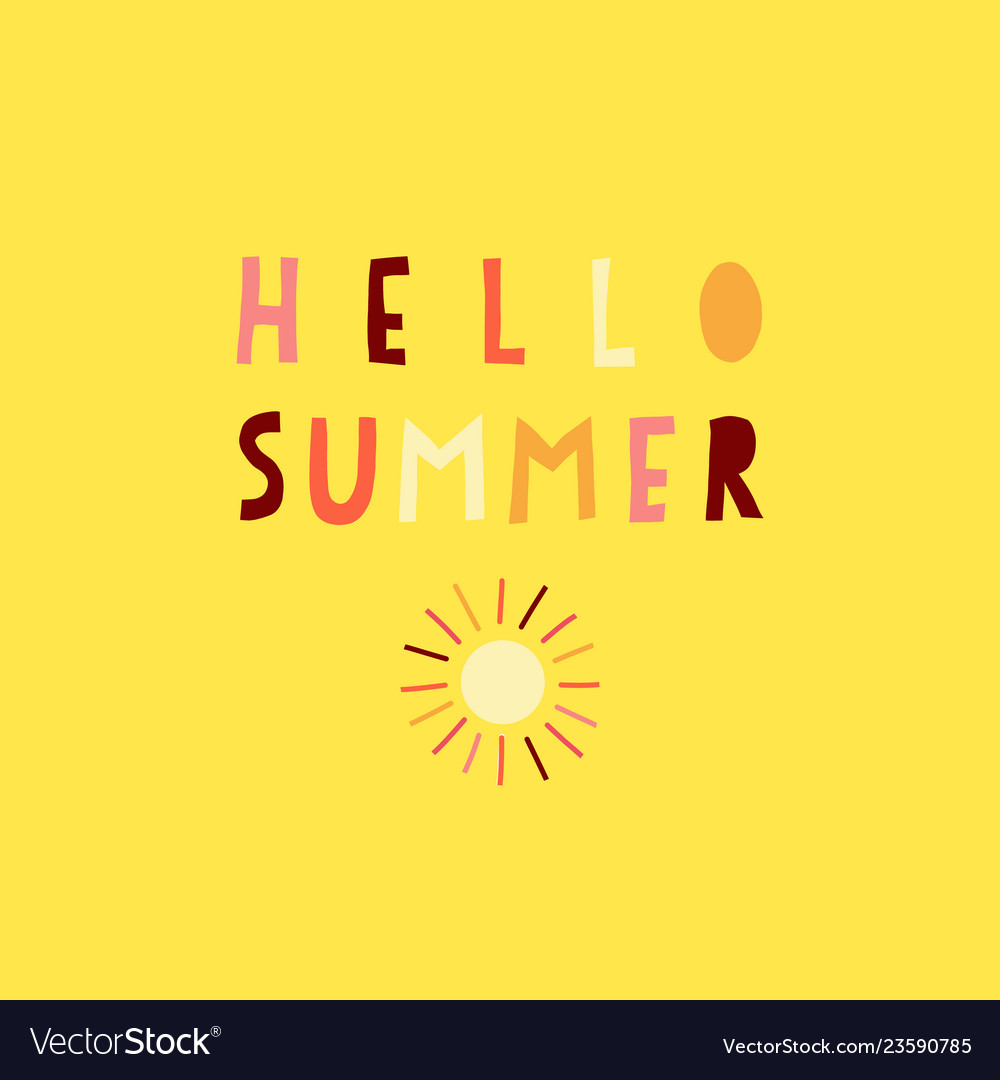 Hello summer collage paper cut out style