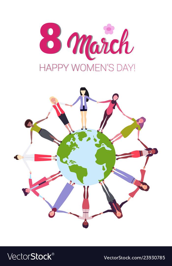 Mix race women holding hands around globe