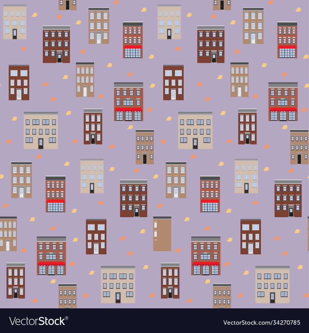 Old houses autumn seamless pattern flat