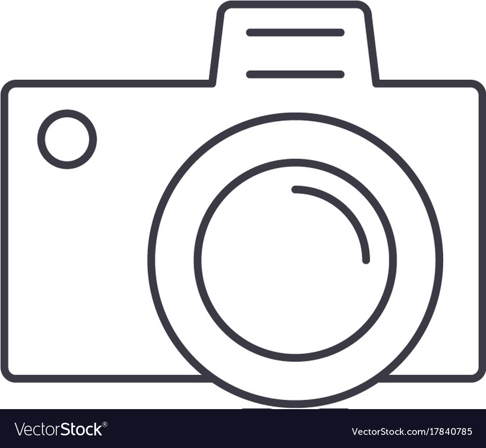 Photo camera sign line icon sign vector image