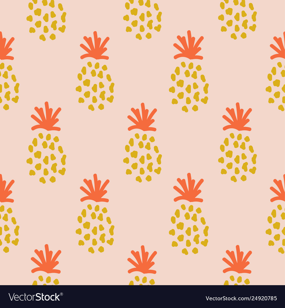 Pineapple summer orange tropical textile seamless