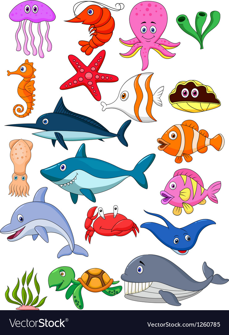 Sea life cartoon set Royalty Free Vector Image