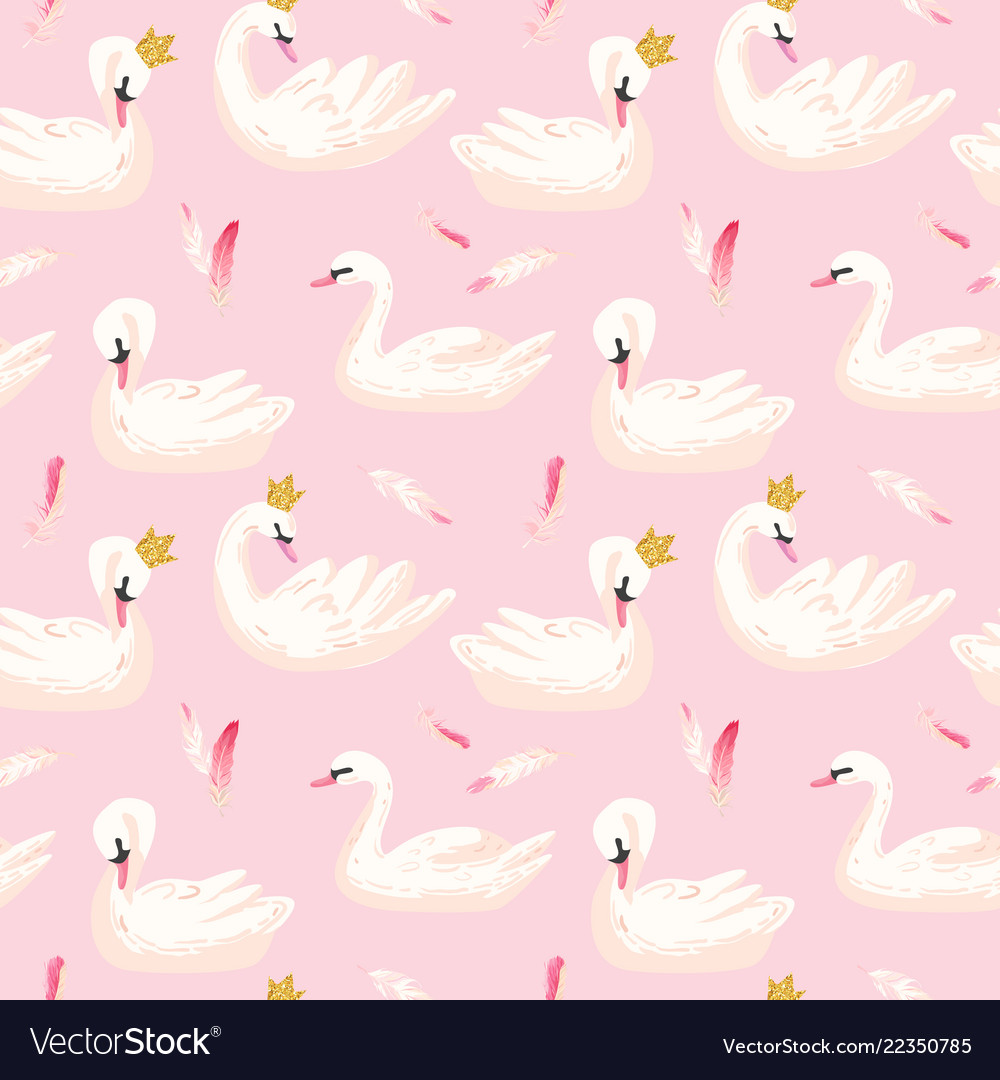 Seamless pattern with white swans baby background