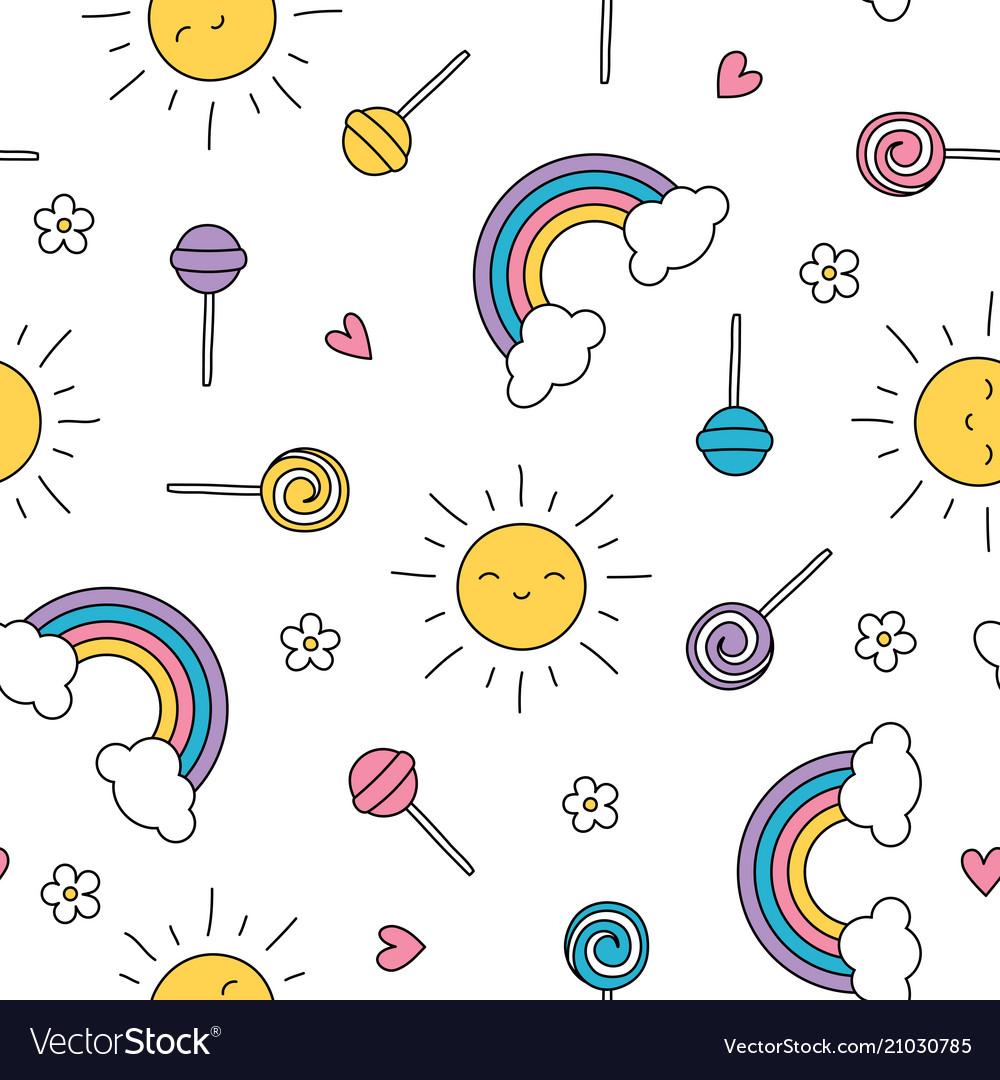 Summer lollipop pastel rainbow sun seamless