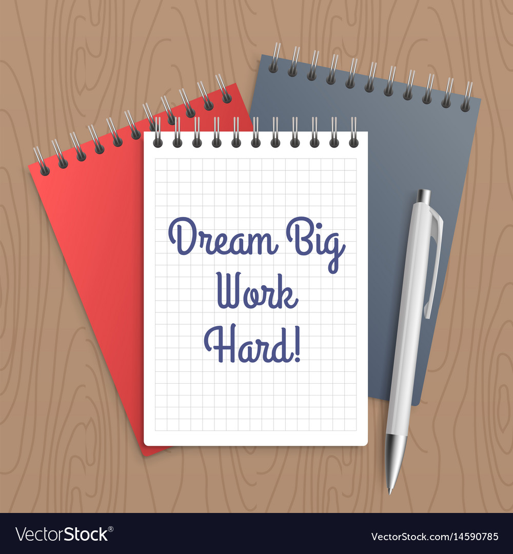 Text dream big work hard