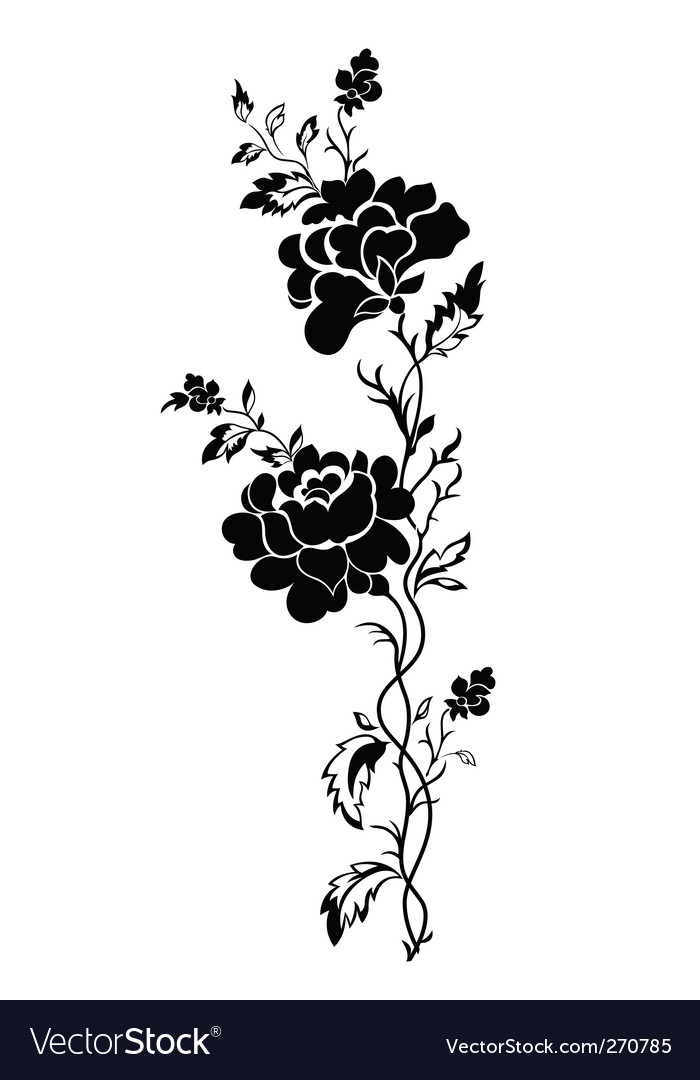 36dc57afc Vertical floral pattern rose tattoo Royalty Free Vector
