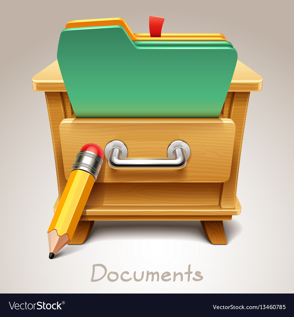 Wooden drawer for documents icon