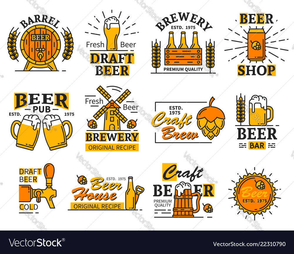 Beer house bar or brewery icons with alcohol drink