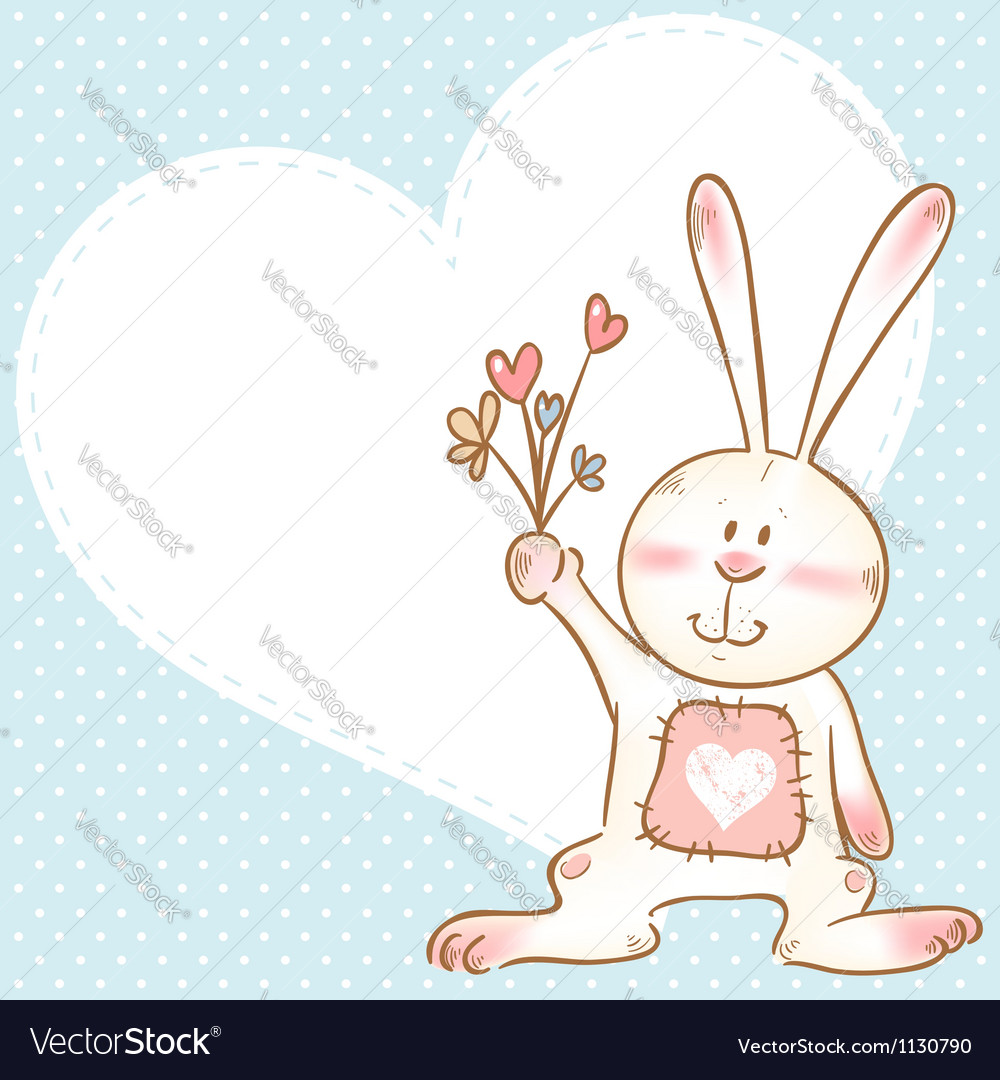 Card with smiling toy bunny holding flowers