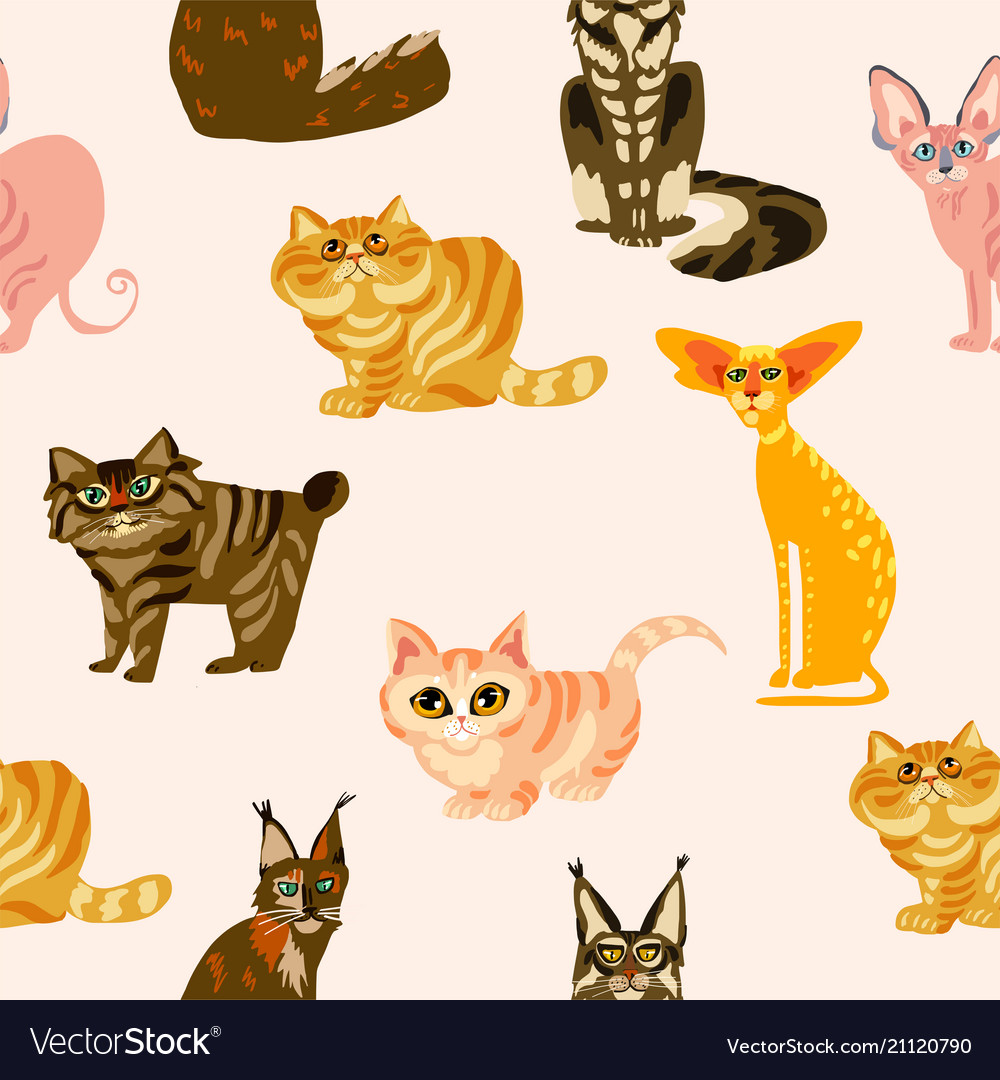 Cartoon cats seamless pattern bree