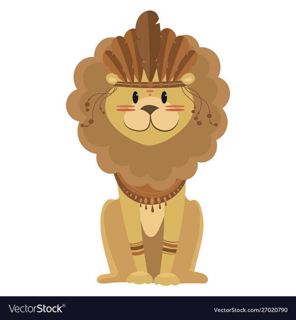 Cartoon lion indian a cute