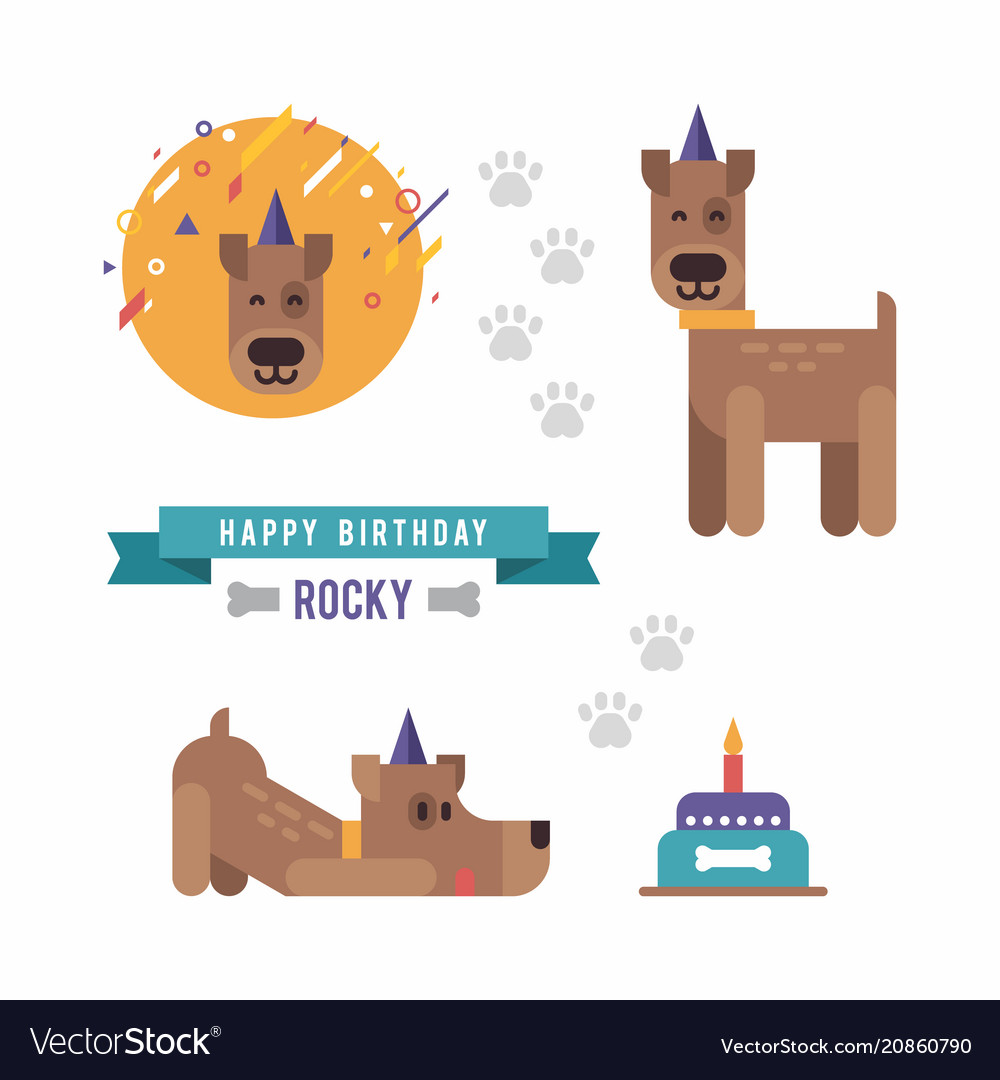 Cartoon style set of dog party and birthday