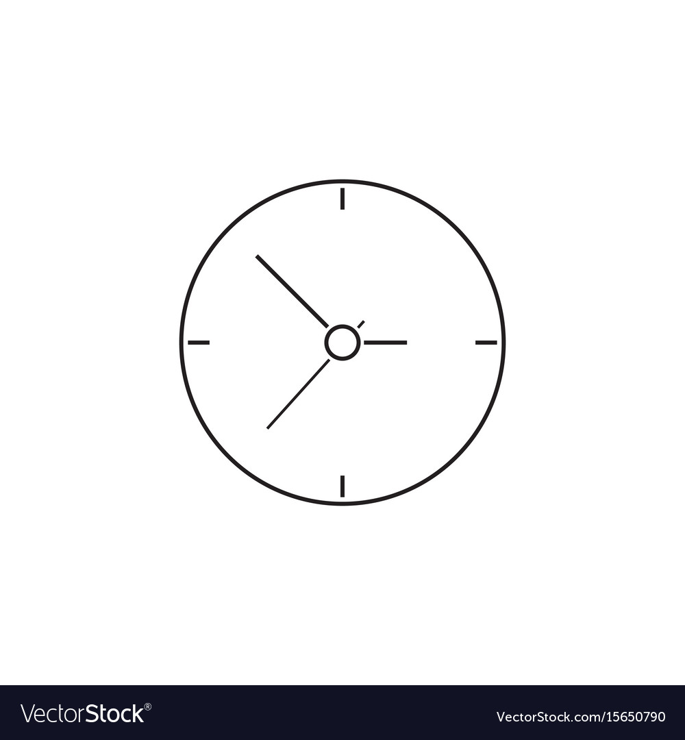 Clock thin line icon time outline