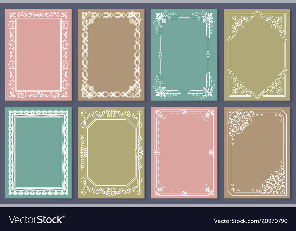 Collection frames white color isolated