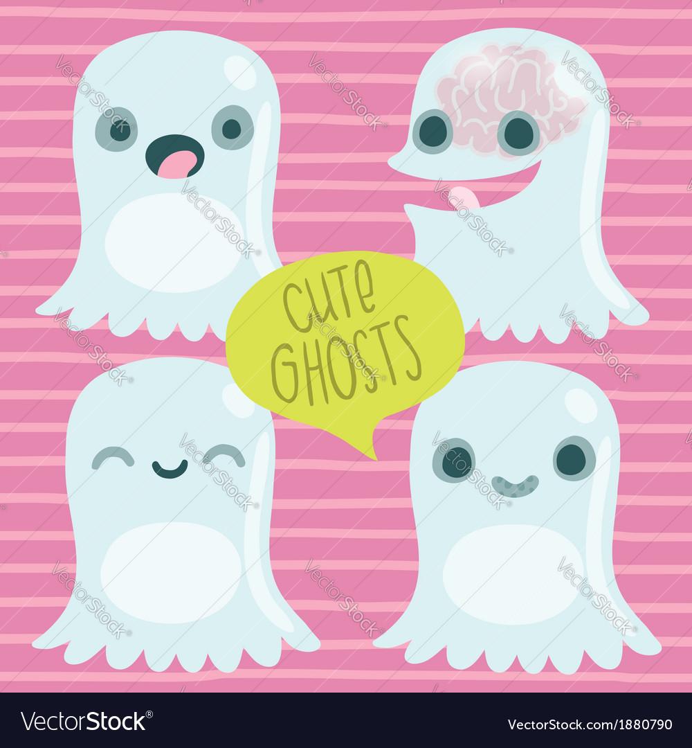 Cute cartoon ghost set Funny Halloween character