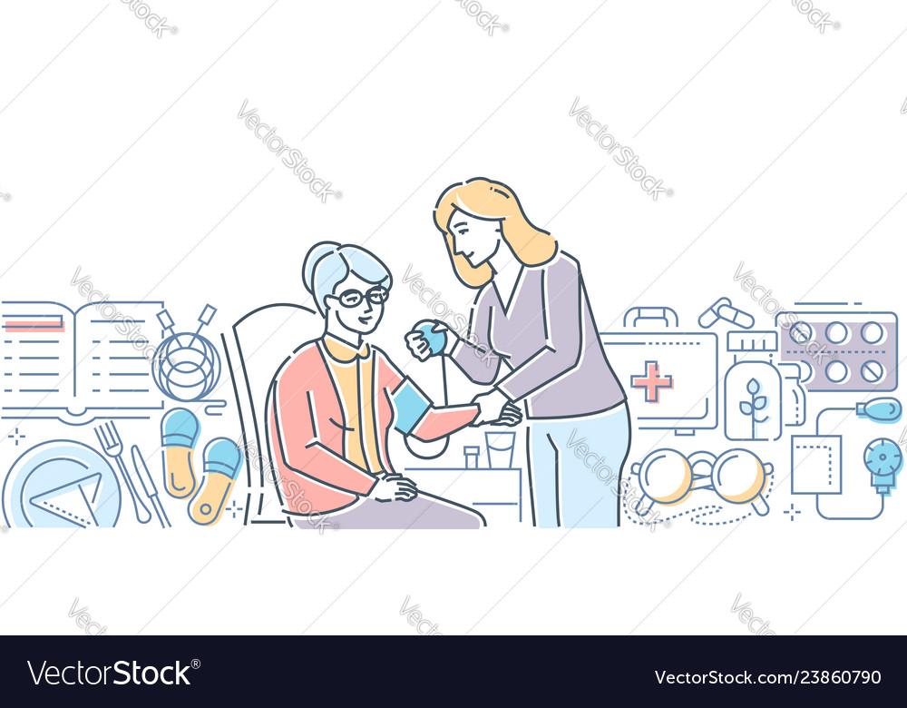 Elderly care - modern line design style