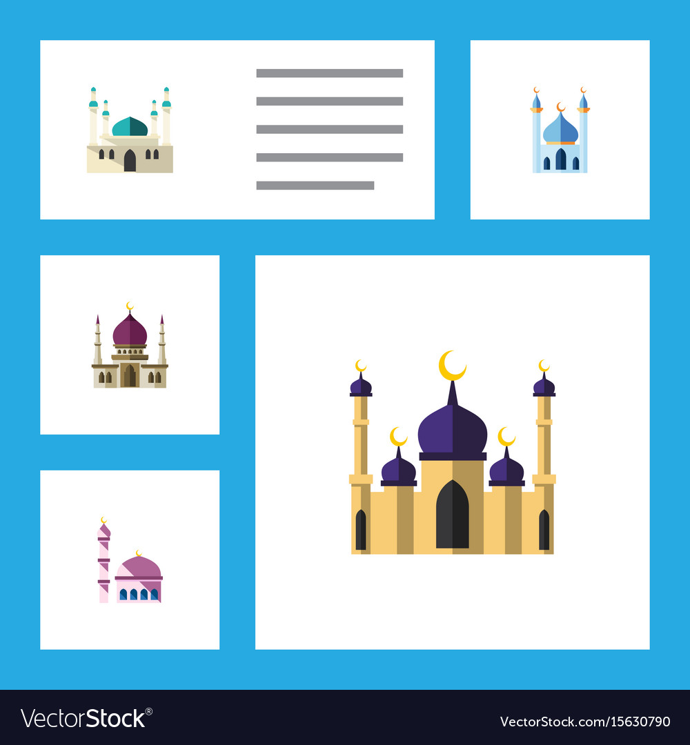 Flat icon minaret set of traditional building vector image