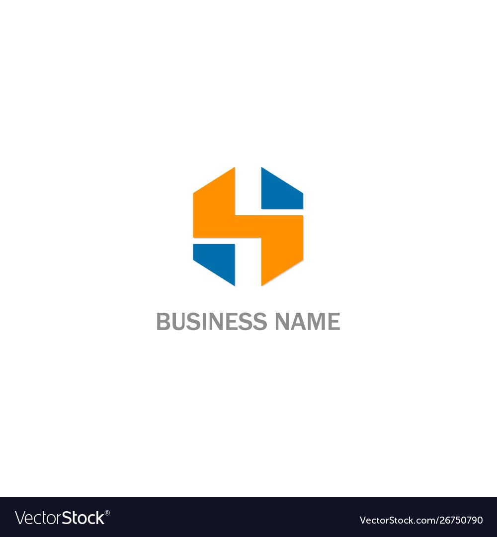 H initial shape colored business logo