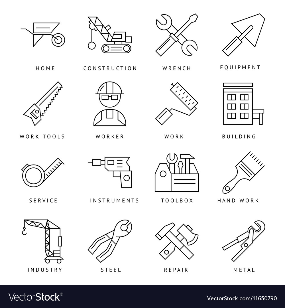 Monochrome Construction Icons Set